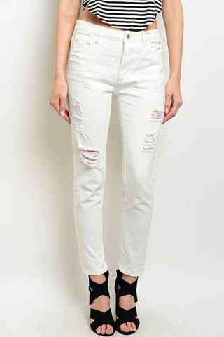 Distressed Slim Fit Capri Jeans - White