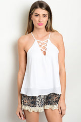 White Lace Up Flowy Tank