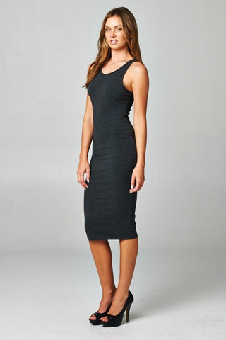 Classic Midi Dress - Charcoal Gray