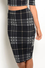 Plaid Bodycon Midi Skirt