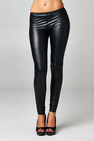 Black Vegan Leather Leggings
