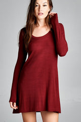 Flowy Long Sleeve Dress - Burgundy