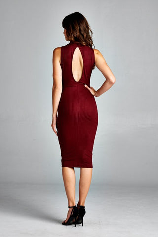 Ribbed Burgundy Midi Dress