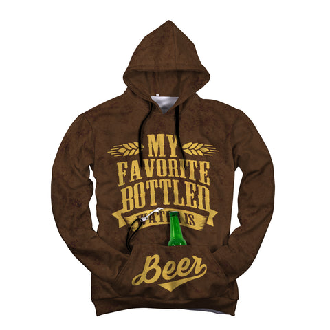My Favorite Bottled Water is BEER - Front Pocket Hoodies with Beer Opener