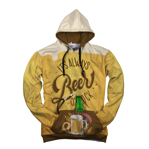 It's always Beer O'clock - Front Pocket Hoodies with Beer Opener