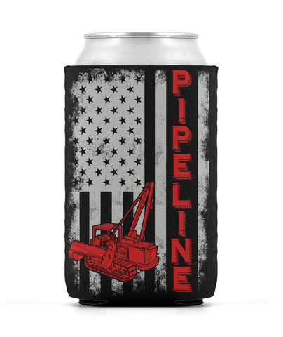 Pipeline US Flag Sideboom Can Sleeve