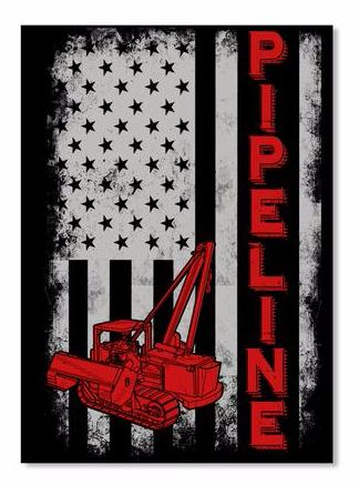 US SideBoom Pipeline Flag Sticker