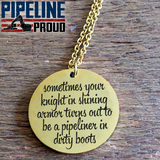 Pipeliner Wife Stainless Steel/Gold Laser Engraved Necklace