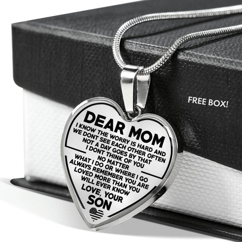 Dear Mom The Worry is Hard Luxury Necklace for Pipeline Mothers