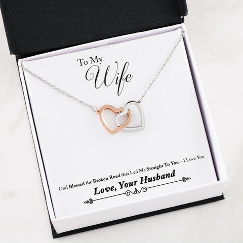 """To My Wife - Broken Road"" Interlocking Heart Necklace"