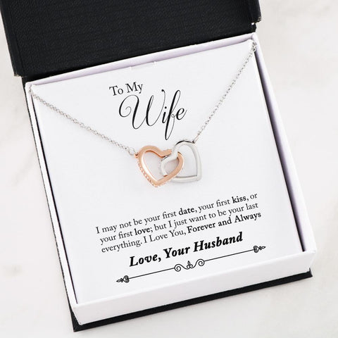 """To My Wife - First Forever Always"" Interlocking Heart Necklace"