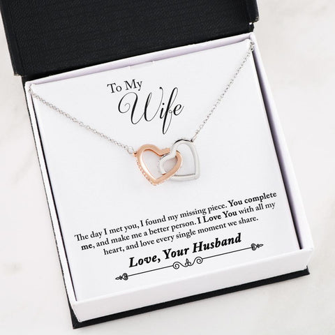 """To My Wife - You Complete Me"" Interlocking Hearts Necklace"