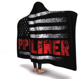 Pipeliner US Flag Hooded Blanket