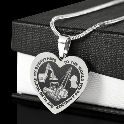 My Pipeliner Is My Everything Stainless Steel Engraved Heart Necklace