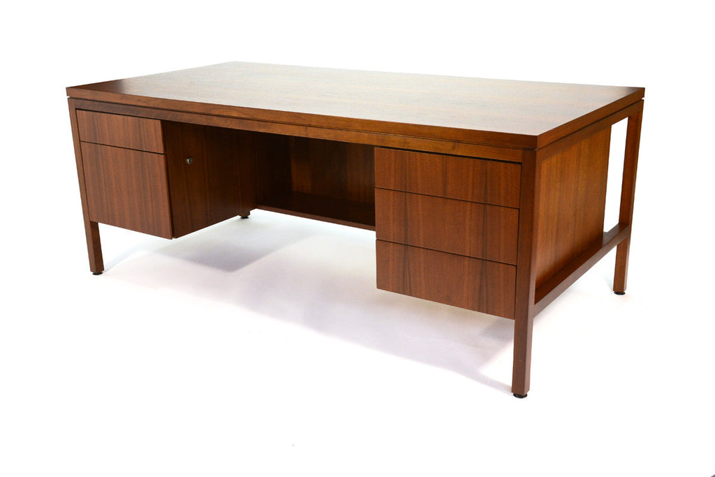 Large Walnut Executive Desk in the stye of Jens Risom