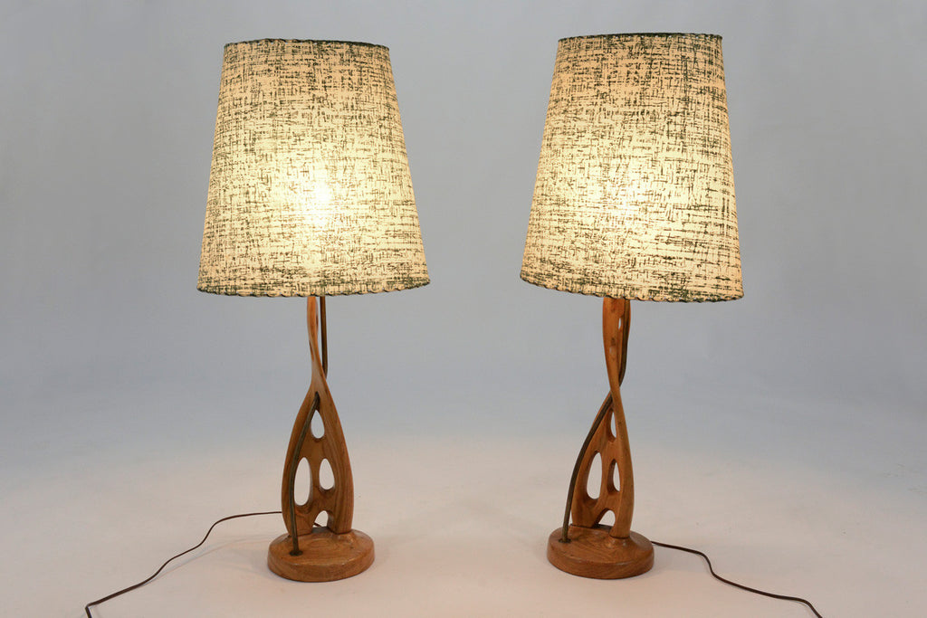 Pair of Sculptural Oak Table Lamps