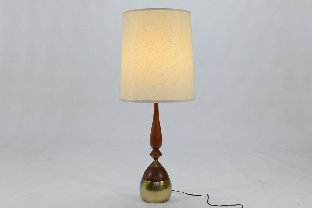 Pair of Brass and Walnut Table Lamps by Tony Paul