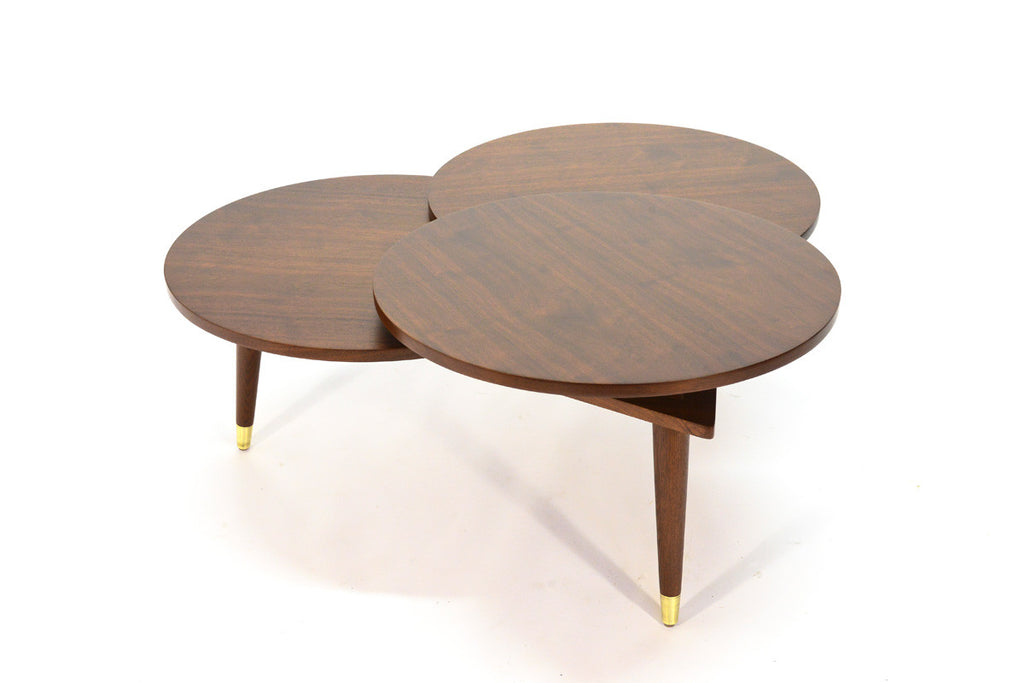 Walnut Three Level Cloverleaf Coffee Table