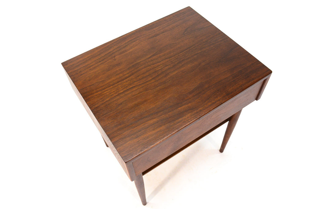 Single Walnut Nighstand by John Keal for Brown Saltman