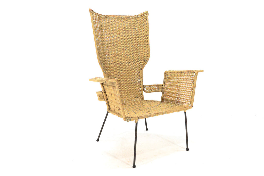 Danny Ho Fong Iron and Rattan Lounge Chair Arroyo Artifacts