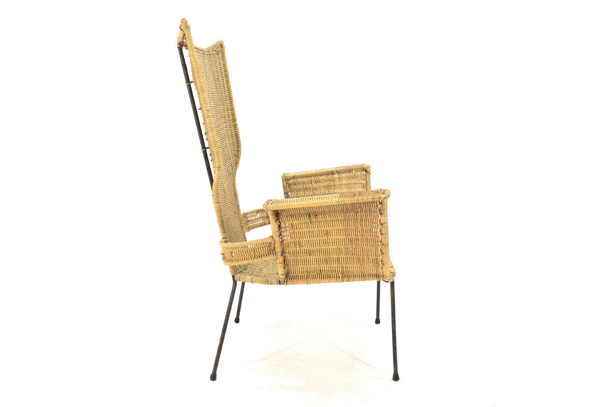 Danny Ho Fong Iron and Rattan Lounge Chair - Arroyo Artifacts