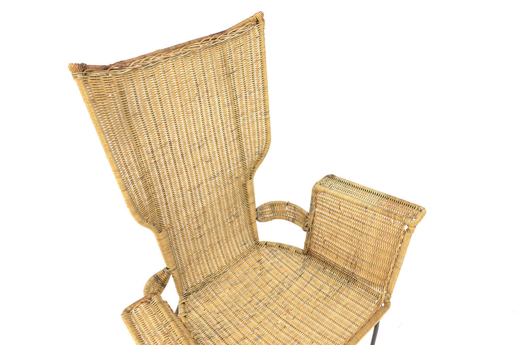 Danny Ho Fong Iron and Rattan Lounge Chair