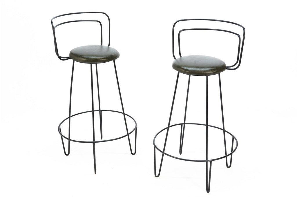 Pair of Iron Barstools Attributed to Frederick Weinberg