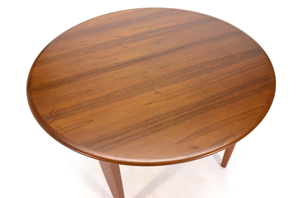 Round Teak Extending Dining Table by Henning Kjaernulf