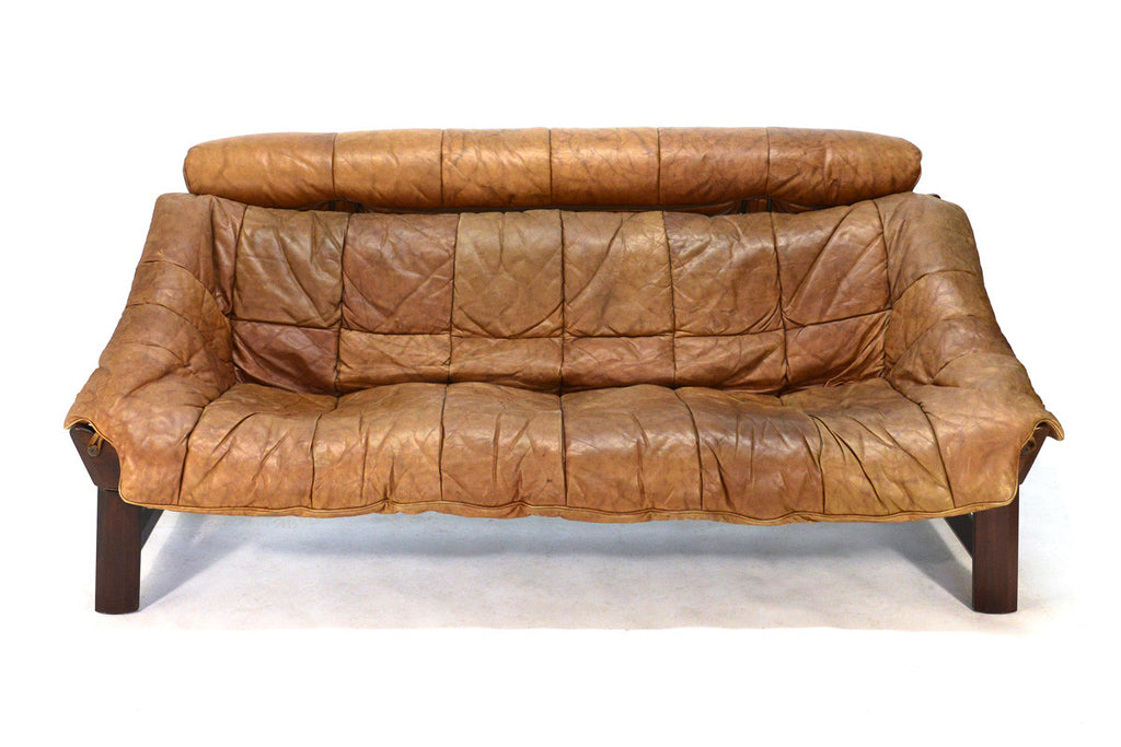 Brazilian Rosewood and Leather Sling Sofa by Percival Lafer