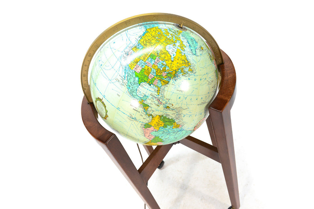 Illuminated World Globe on Walnut Stand