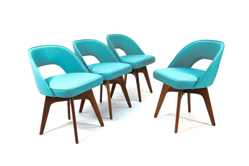 Set of Four Chet Beardsley Swivel Dining Chairs