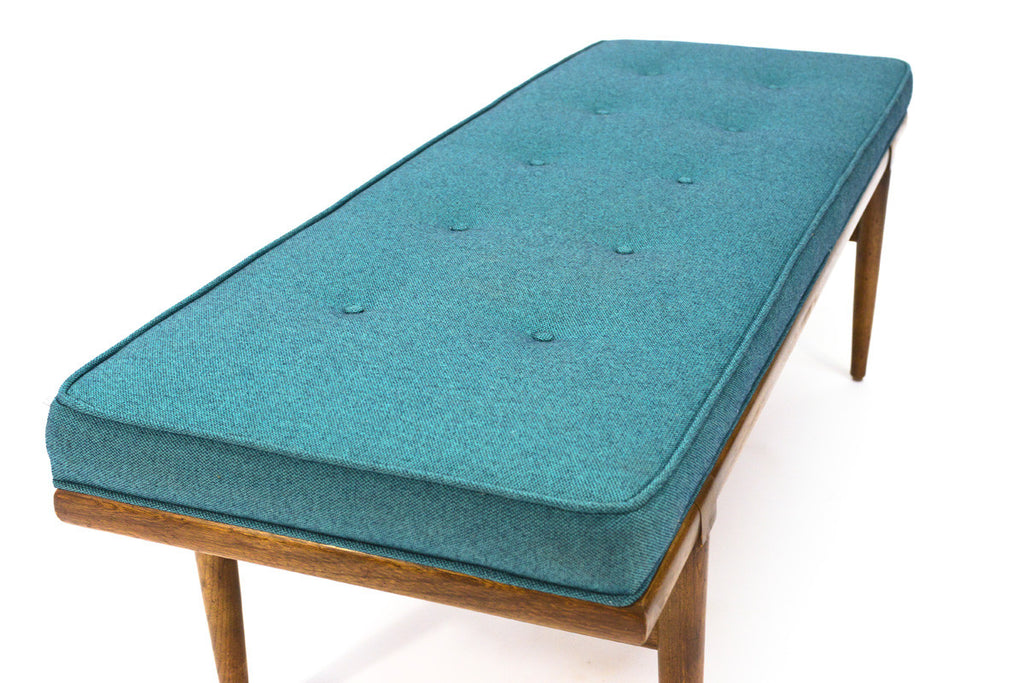 Large Blue Upholstered Bench