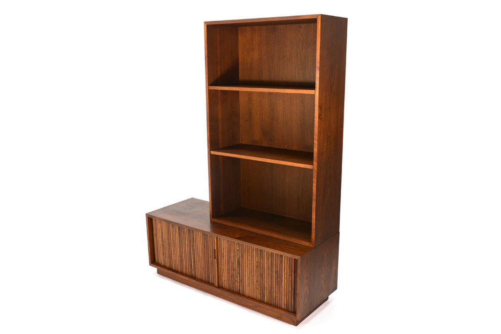 Low Walnut Tambour Cabinet and Shelf by Glenn of California