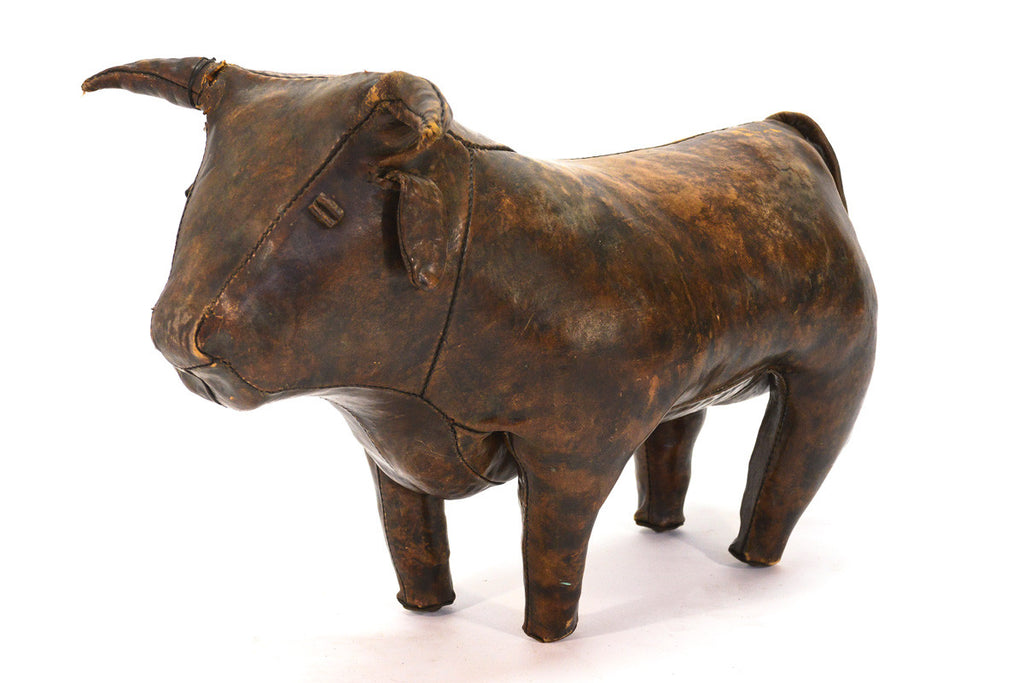 Vintage Leather Bull Ottoman by Dimitri Omersa