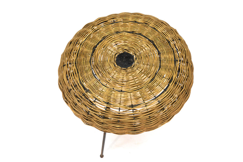 Iron and Rattan Stool