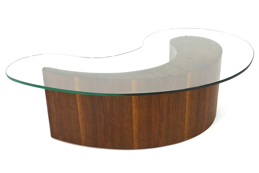 Walnut Biomorphic Comma Form Coffee Table