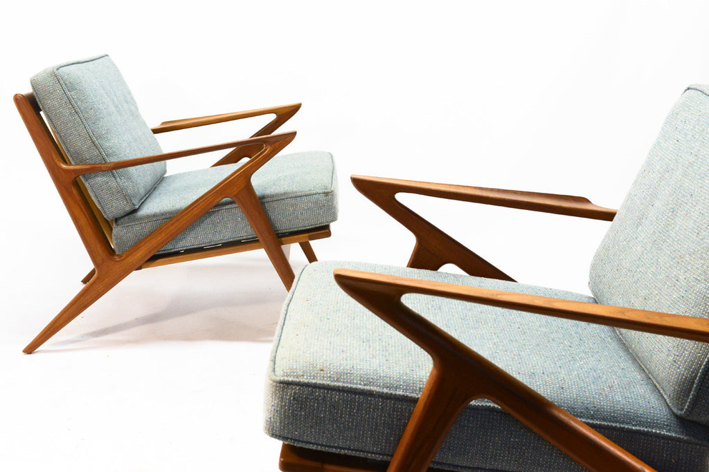 Pair of Teak 'Z' Lounge Chairs by Poul Jensen for Selig