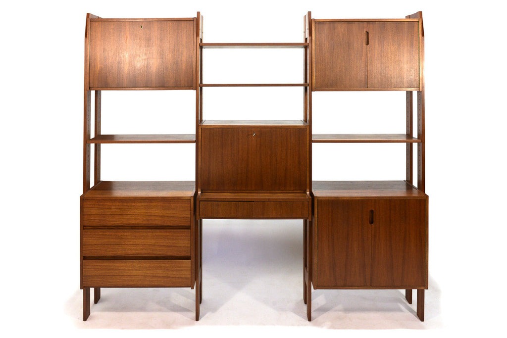 Freestanding Three Bay Teak Wall Unit / Room Divider