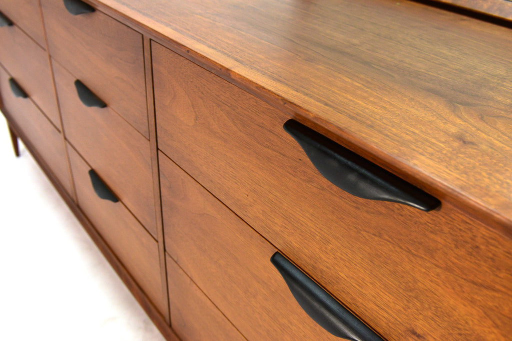 Walnut Nine Drawer Dresser with Mirror by Dillingham
