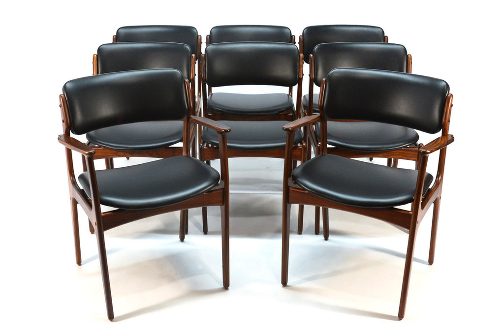 Set of Eight Erik Buck Model 49 Rosewood Dining Chairs
