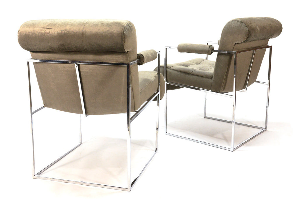 Pair of Chrome Armchairs by Milo Baughman for Thayer Coggin