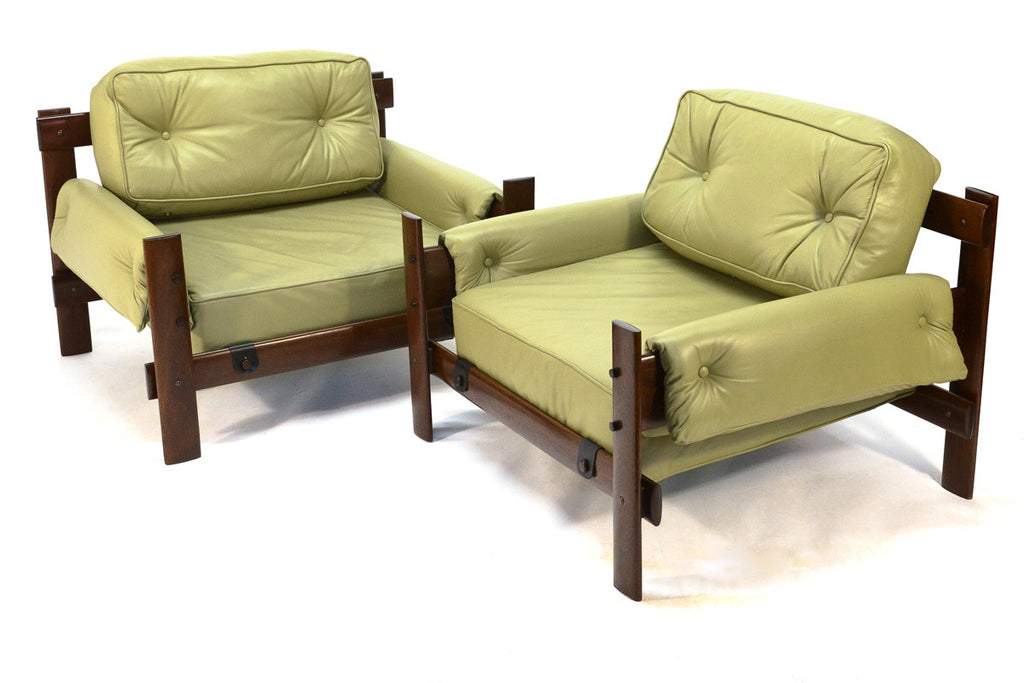 Pair of Brazilian Leather Lounge Chairs by Percival Lafer