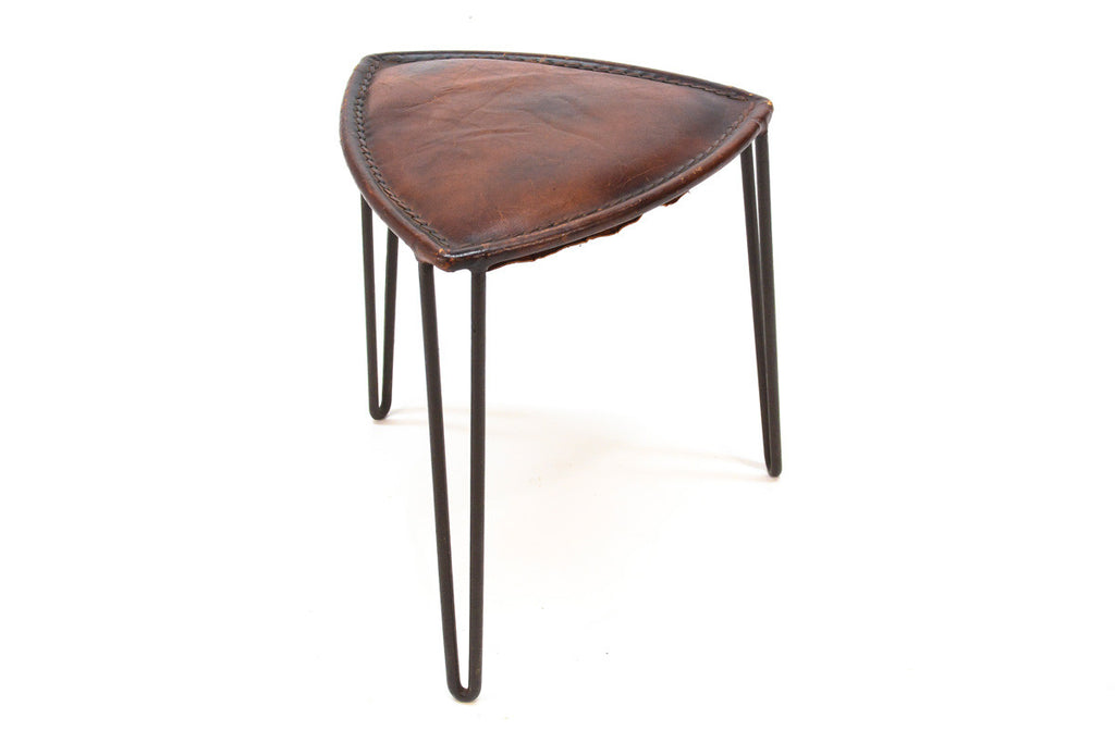 Triangular Leather Hairpin Leg Stool