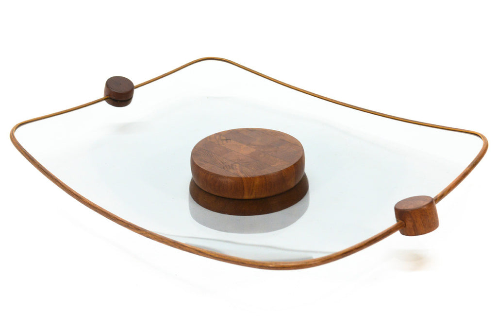 Curved Glass and Teak Tray by Ernest Sohn