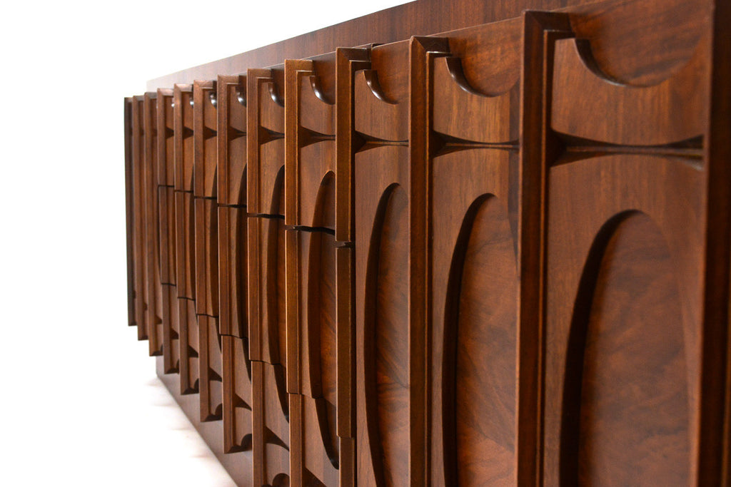 Nine Drawer Brutalist Walnut Dresser
