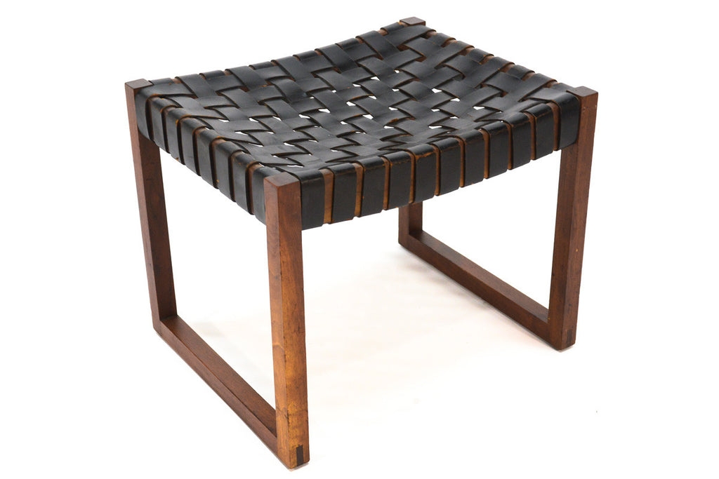 Woven Leather and Walnut Stool