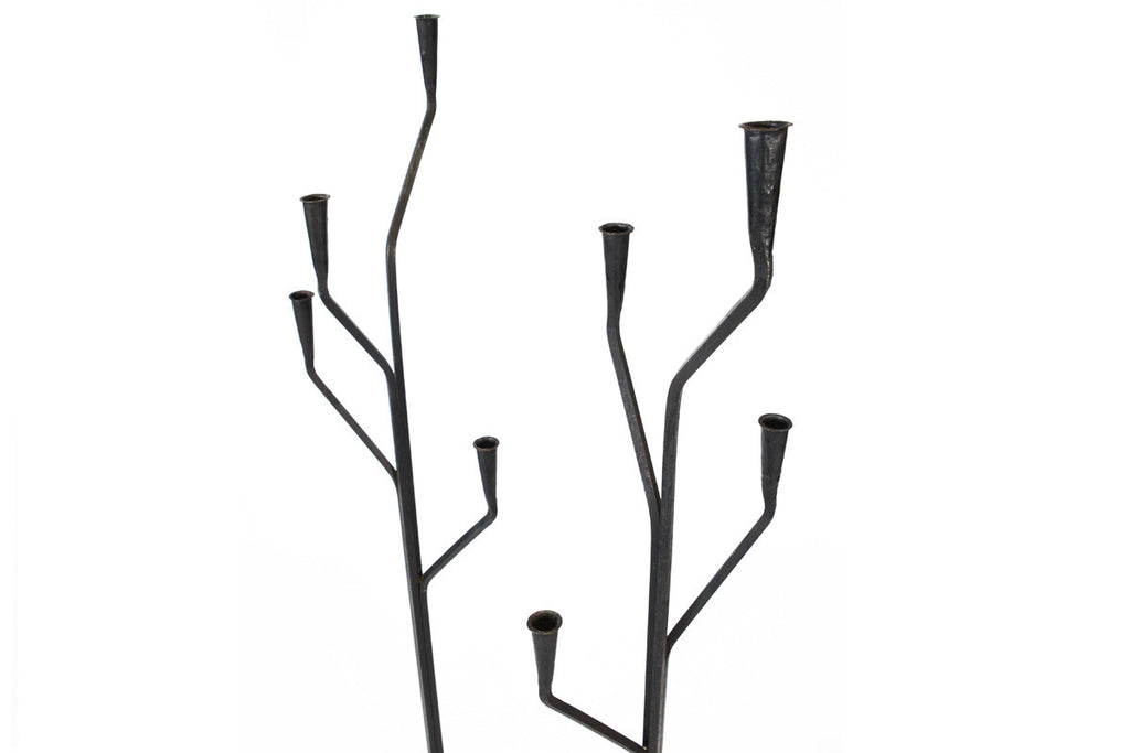 Pair of Swedish Wrought Iron Candelabras