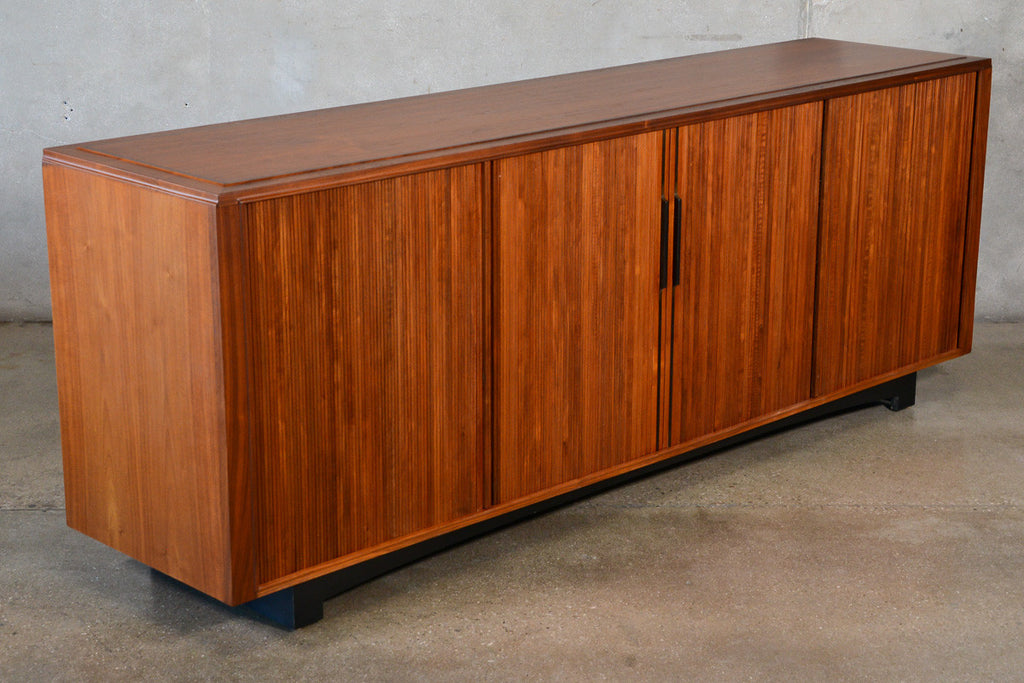 Large Walnut Tambour Credenza by John Kapel for Glenn of California