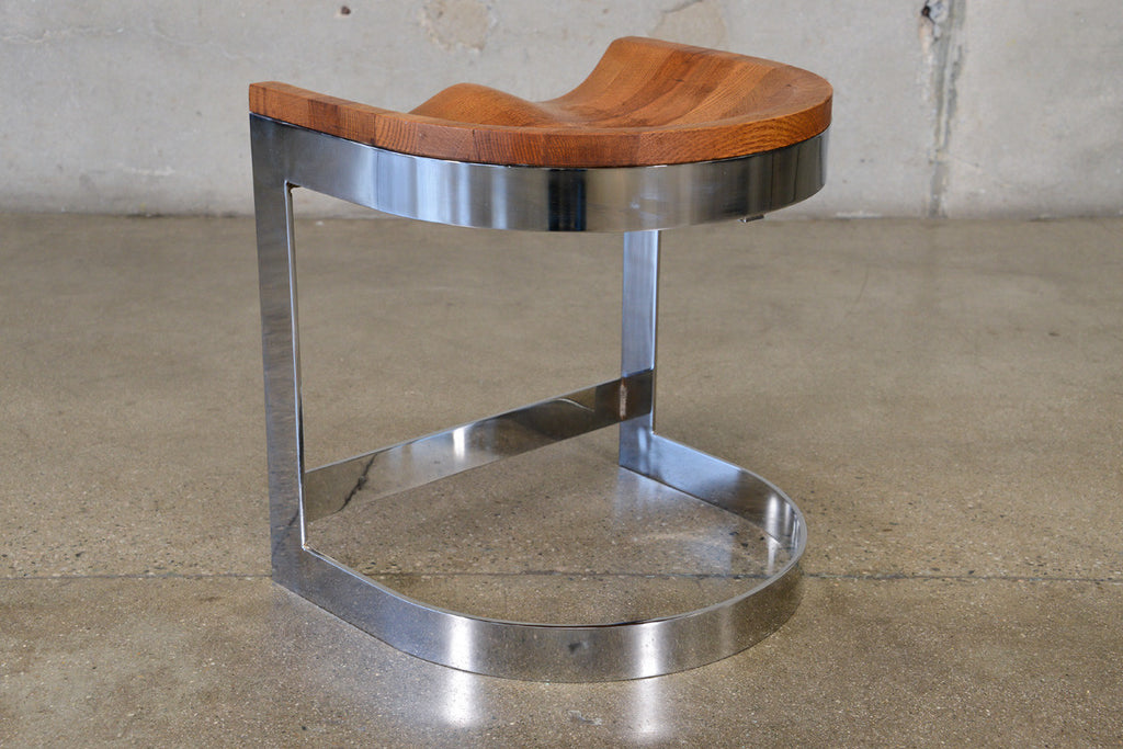 Oak and Chrome stool by Warren Bacon