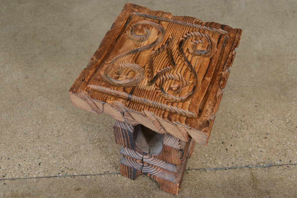 Small Carved Wood Side Table by Witco